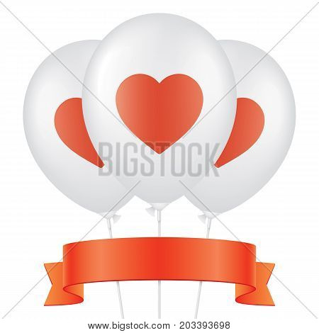 Red heart printed white ballons, with red ribbon isolated on background. Romantic greeting card vector design.