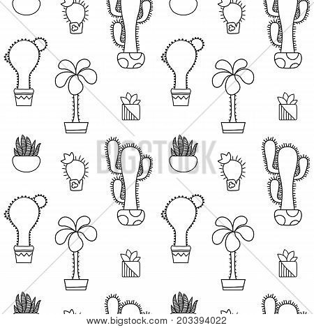 Black and white outlined cactus vector seamless pattern. Cactus doodle on white background. Houseplant pattern tile. Cacti in pot surface design. Nursery coloring paper. Hipster succulent texture