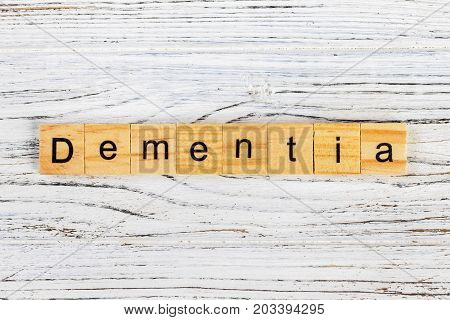 Dementia word made with wooden blocks concept