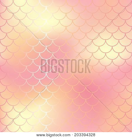 Pastel pink and gold abstract fish skin background. Fantastic fish scale pattern. Mermaid vector pattern. Fish scale seamless pattern in pink color. Rose gold mermaid tail texture. Wedding background