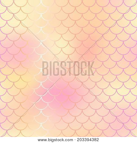 Pale pink and yellow abstract fish skin background. Fantastic fish scale pattern. Mermaid vector pattern. Fish scale seamless pattern in pink color. Rose gold mermaid tail texture. Wedding background
