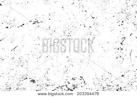 Obsolete and rough concrete floor vector texture. Noisy texture with grain and stains. Distressed asphalt surface. Black and white tiny grit trace. Weathered vintage overlay on transparent background