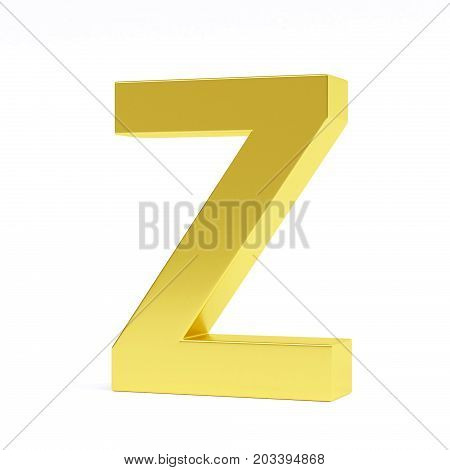 Golden letter Z isolated on white. Collection. 3d image