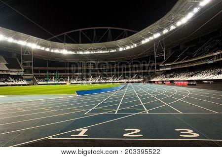 Rio de Janeiro, Brazil - August 25, 2017: Running track in Nilton Santos Stadium, also known as