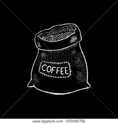 White chalk burlap coffee sack drawing. Rustic burlap coffee sack. Coffee bean package by white chalk on chalkboard. Blackboard coffee bag icon for cafe or restaurant menu decor. Vintage burlap sack