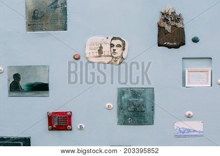 Vilnius, Lithuania - July 7, 2016: Literatu Street - One Of The Oldest Streets In The Old Town Of Vilnius, Lithuania. Wall With Literary Works Of Art. Literatu Street Wall.