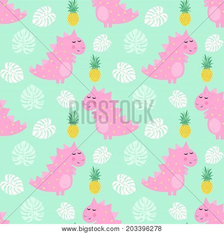 Pink dinosaur with pineapple and palm leaves seamless pattern on mint green background. Vector dino background for kids. Child drawing style cartoon illustration. Design for fabric, textile, decor.