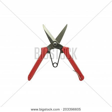 Zinc cutting scissors with red handle plastics. Tools isolated on white background.