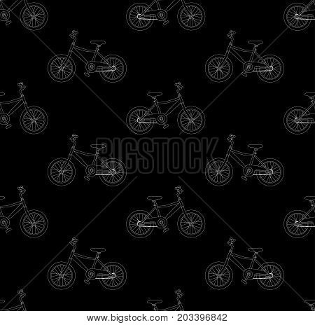 White Bicycle Seamless on Black Background. Vector Illustration.