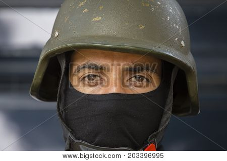 NEW DELHI INDIA - JANUARY 23 2017 : Indian guard. Soldiers take part in rehearsal activities for the upcoming India Republic Day parade. New Delhi India