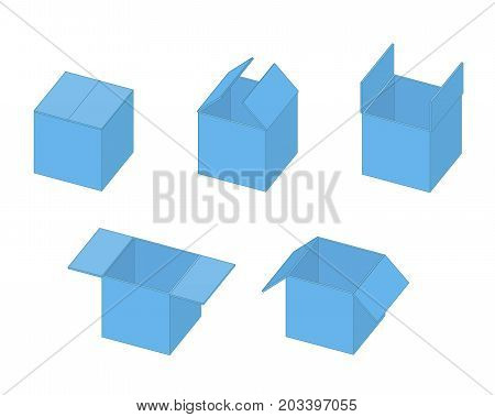 Box open isometric sequence animation sprite. Vector illustration poster