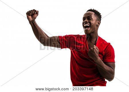Fan / Sport Player on red uniform celebrating on white background
