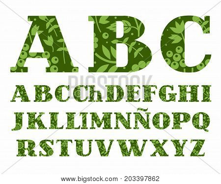 Spanish alphabet, berries and herbs, green, vector. Uppercase letters of the Spanish alphabet with serif. Green berries, herbs and flowers on a dark green background.