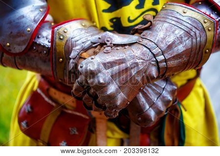 Detail knight armor. Gloves of a knight