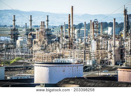 Mega Structures Of Large Oil Refinery In California