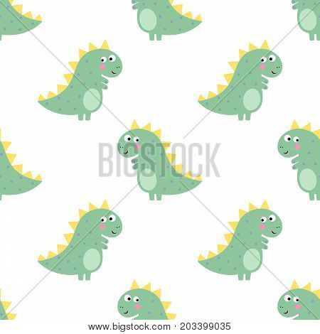 Cute dinosaur seamless pattern on white background. Vector dino background for kids. Child drawing style cartoon illustration. Design for fabric, textile, decor.