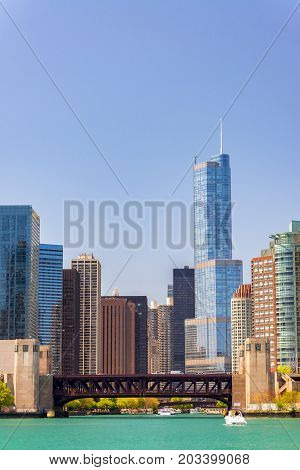 Vertical view of downtown Chicago from the mouth of the Chicago River