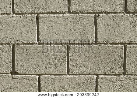 Concrete brick wall photo background. Rough grey stone bricks design. Masonry wall made of big block. Rustic stone texture. Industrial stone brickwork. Solid protection safety or durability concept