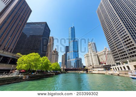 CHICAGO - MAY 12: Chicago River and Trump Tower in downtown Chicago on May 12 2017