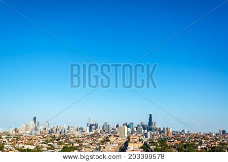 Wide angle view of the skyline of downtown Chicago