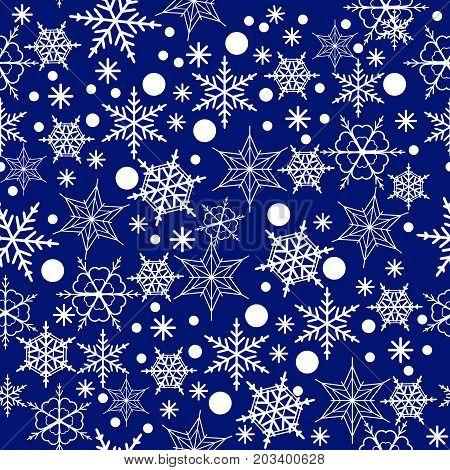 Seamless pattern of snowflakes on a blue background Vector Illustration