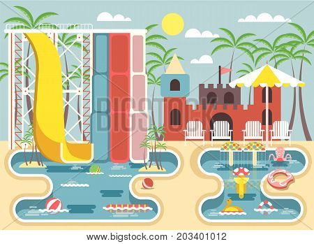 Stock vector illustration of exterior water park, outdoor landscape, aqua park with water slides, entertainment, fountain, swimming pool, deckchairs under sun umbrella in flat style to infographic