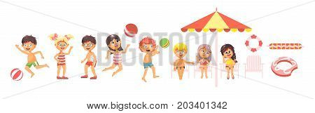 Stock vector illustration isolated cartoon characters children, boys and girls resting in swimsuits, swimming trunks, beachwear playing ball, sitting under sun umbrella flat style on white background