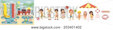 Stock vector big set isolated cartoon characters children, boys and girls resting swimsuits, swimming trunk, beachwear playing ball, sun umbrella flat style white background, aqua water park landscape