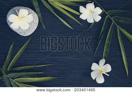 Bamboo leaf and frangipani flower on dark background. Cinematic toned photo. Tropical leaf and flower. Floral flat lay on rustic backdrop. Plumeria flower bamboo leaf wreath. Natural frame top view