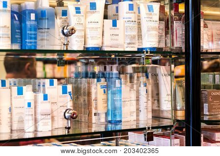 VIENNA, AUSTRIA - 23 AUGUST 2017:The interior of the city pharmacy in the shelves with medicines and preparations.