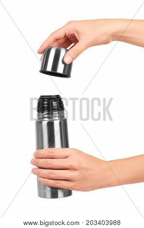 Metal Thermos For Trips In Hand Isolated On White Background