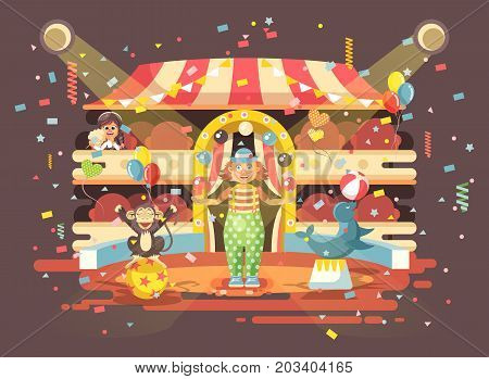 Stock vector illustration cartoon character lonely child, schoolgirl, brunette girl watching performance in interior of circus, show clown juggles on arena, perform trained monkey animal in flat style