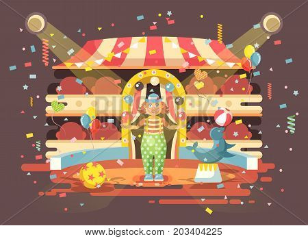 Stock vector illustration cartoon character lonely clown juggles balls, performance in interior of empty circus, show on arena, perform trained seal, sea calf, sea dog animal in flat style