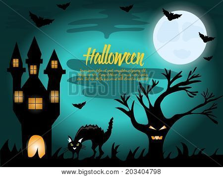 Halloween night background with house and cat
