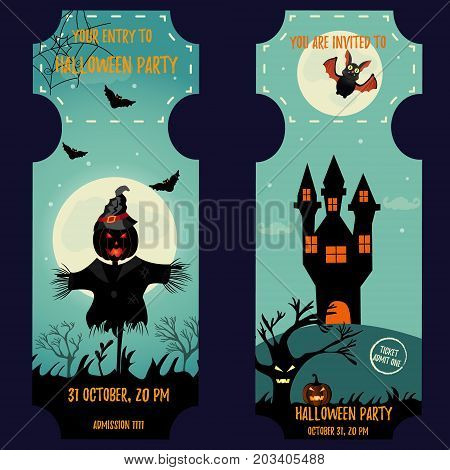 Ticket Halloween Party. Invitation template. Halloween background with creepy house, moon, scarecrow, scare pumpkin, cat