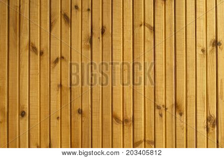 background: a section of the wall lined with yellow lacquered wooden slats