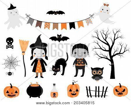 Stylish Halloween set in grey orange and black colors with kid characters in costumes and design elements for greeting cards invitations and scrapbooking