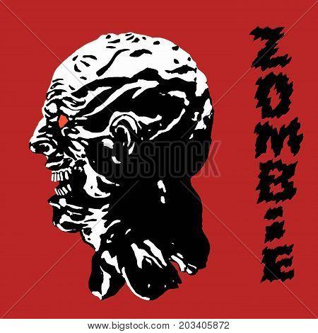The scary black zombie face. Vector illustration. Danger monster character profile. Genre of horror.