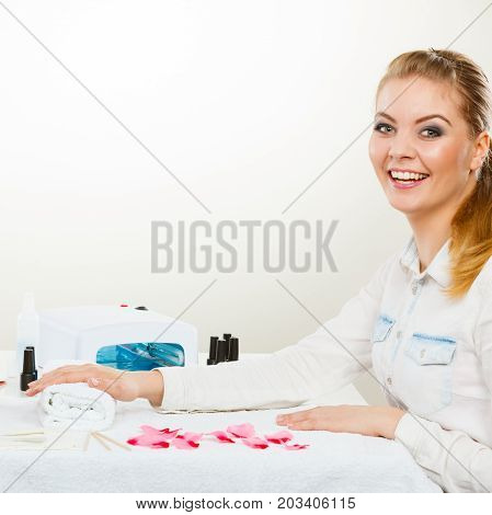 Smiling Woman In Spa Wellness Salon.