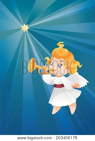 Christmas background design with fanfareist angel musician. Happy smiling cute cartoon kid play fanfare on trumpet to star flying on a night sky. siut for Christmas card, music collection box cover