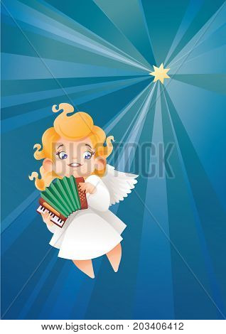 Christmas background design with accordionist angel musician. Happy smiling flying in the night sky cute cartoon kid play music on accordion to star. Good siut for card, music collection box cover