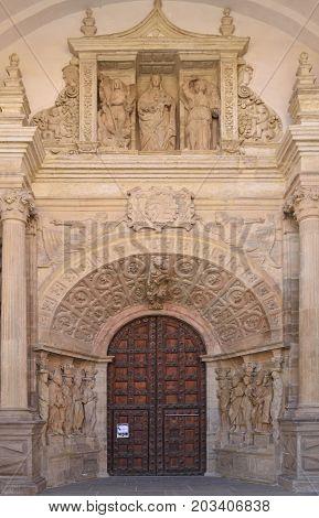 Portico Entrance Of The Catheedral De Nuestra Senora De La Huerta, Tarazona, Zaragoza Province, Arag