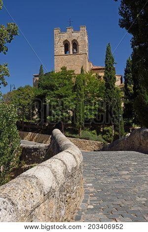 Bridge And San Jun Church In Aranda De Duero, Burgos Province, Spain