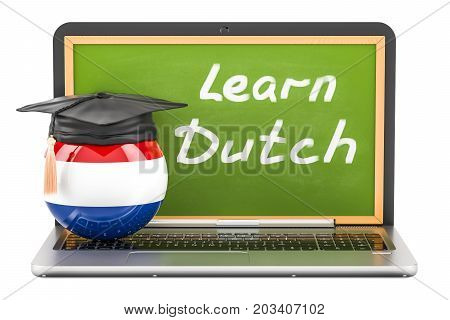 Learn Dutch concept with laptop blackboard graduation cap and flag of Netherlands 3D rendering
