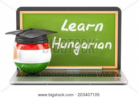 Learn Hungarian concept with laptop blackboard graduation cap and flag of Hungary 3D rendering