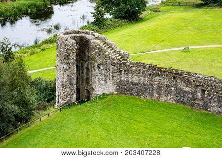 COUNTY MEATH, IRELAND - AUGUST 29, 2017: View of Trim Castle, used in filming of parts of the movie Braveheart, in County Meath, Ireland