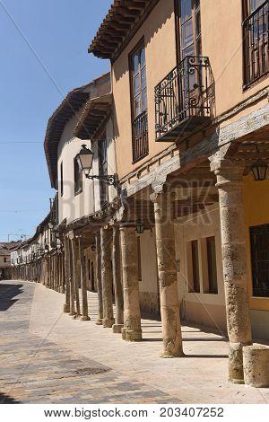 Street with arcades in Ampudia Tierra de Campos Palenciia province Castilla y Leon Spain poster