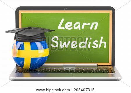Learn Swedish concept with laptop blackboard graduation cap and flag of Sweden 3D rendering