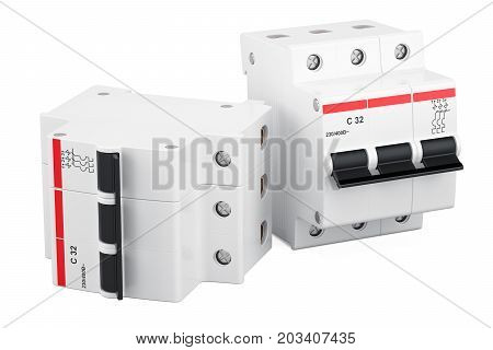 Three-pole miniature circuit breakers 3D rendering isolated on white background