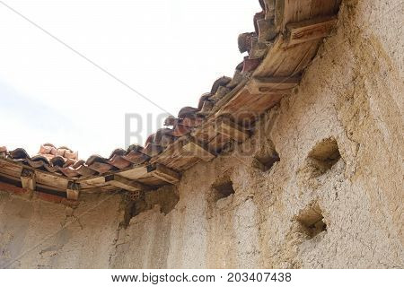 detail of old dovecote in Montealegre de Campos Tierra de Campos region Valladolid province Castilla y Leon Spain poster